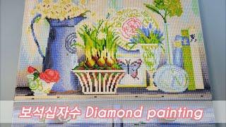 ✍취미생활보석십자수키친플라워 타임랩스//Diamond …