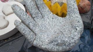 DIY - Betonhand / Hand aus Beton mit Einmalhandschuh gemacht