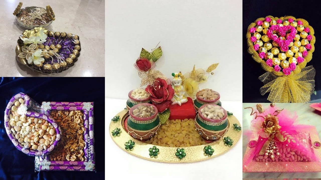 Decorative Idea Of Dry Fruits And Chocolates Tray Packing For