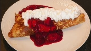 How To Make Danish Pancakes With Ice Cream And Fruit Sauce. A Traditional Dansk Pandekage Recipe