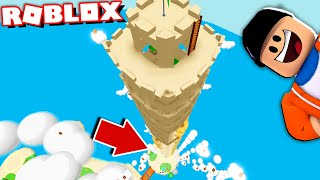 Building The Worlds TALLEST Sand Castle in Roblox! (don't look down...)