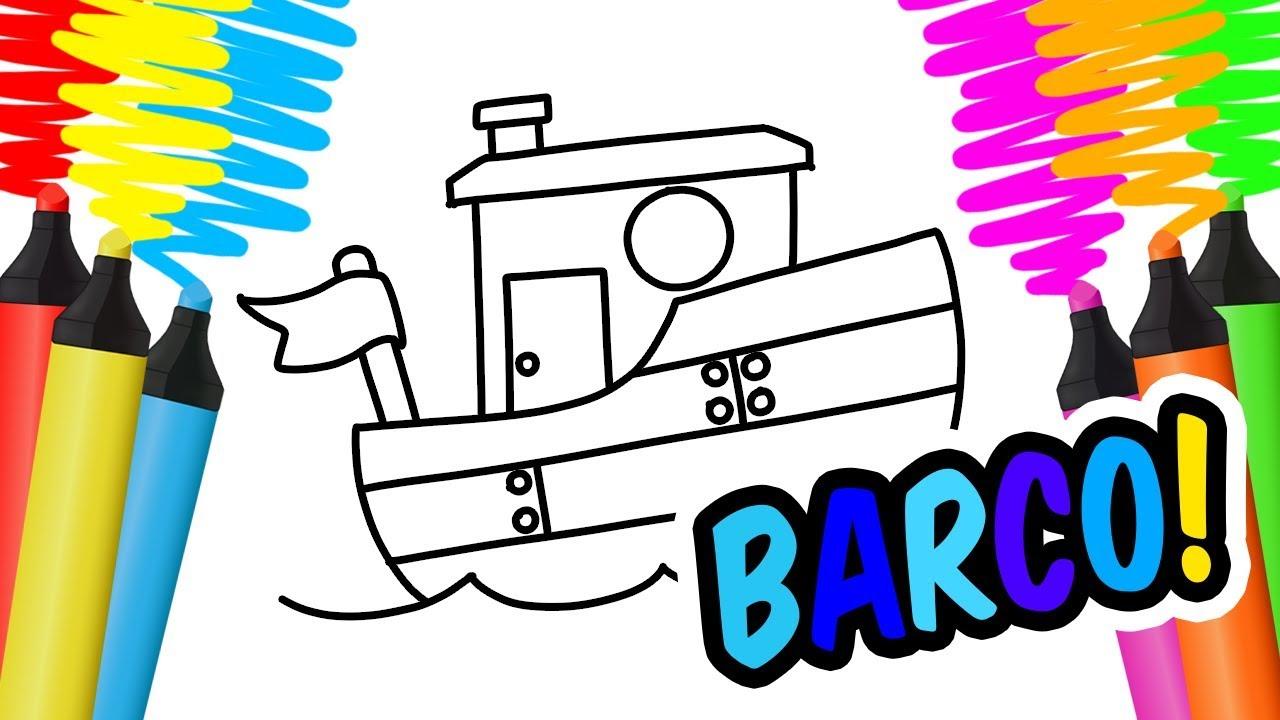 Como Desenhar E Colorir Barco Gato E Planta Pintar E Aprender