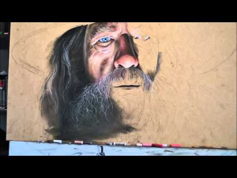 Hyperrealistic speed painting of Gandalf from Lord of the Rings