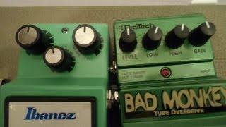 Ibanez Tubescreamer TS9 & Digitech BAD MONKEY test