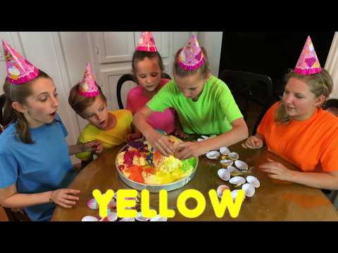 Thumbnail: Learn English Colors! Giant Ice Cream Surprise Egg Rainbow Sprinkles with Sign Post Kids!