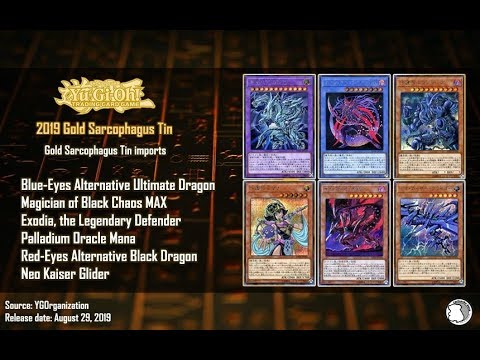 Yu-Gi-Oh!!! 2019 Fists of the Gadgets Gold Sarcophagus Tin Imports Broken  Rank 4!!!