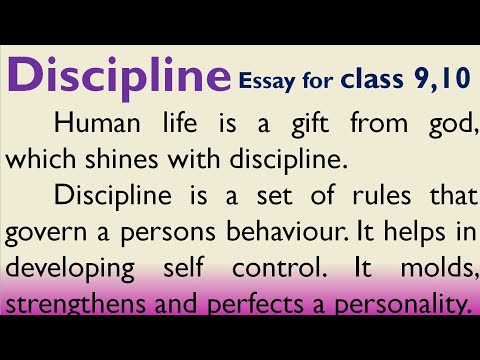Essay on discipline in English  for Higher Secondary students 9, 10 standard.