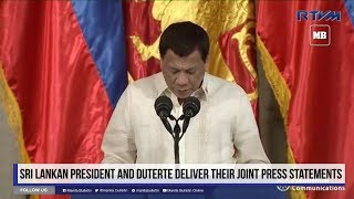 Sri Lankan President and Duterte deliver their joint press statements Part 1