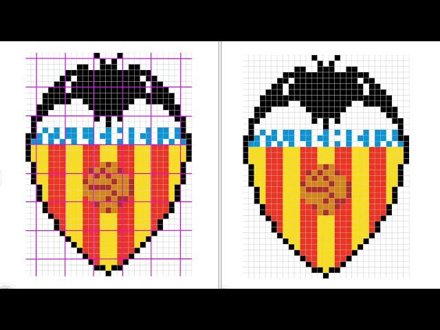 Cómo Dibujar Pixelado El Escudo Del Valencia Paso A Paso Youtube