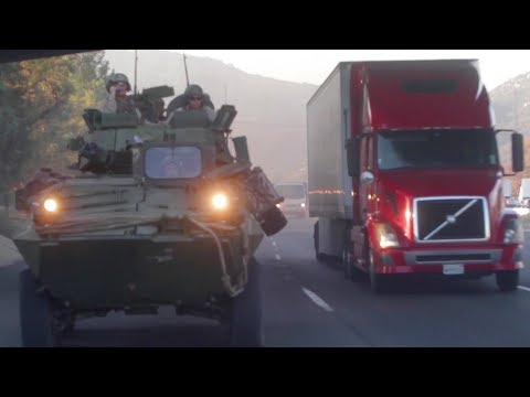 Light Armored Vehicle On California Highway: Marines Light Armored Reconnaissance Battalion Training