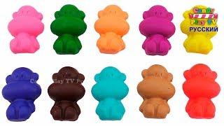 Лепим Животных: Льва Слона Жирафа Зебру из Пластилина Плей До | Учим цвета Play Doh для детей