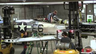 P 51 wing going on to the aircraft 13min
