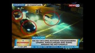 Isa sa tatlong kotseng nagkakarera umano, nagulungan ang isang angkas ng motorsiklo