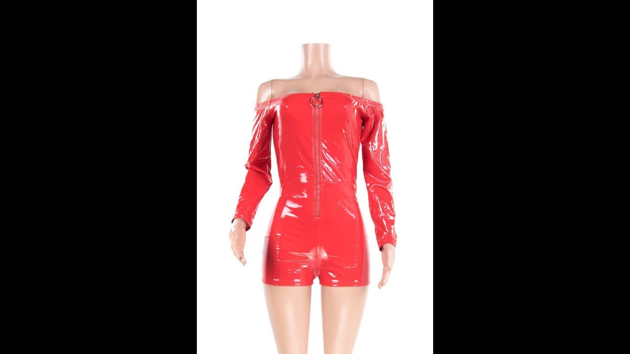 379c0f050c6 Anne recommend  PU Leather Zipper Front Sexy Tight Off Shoulder ...