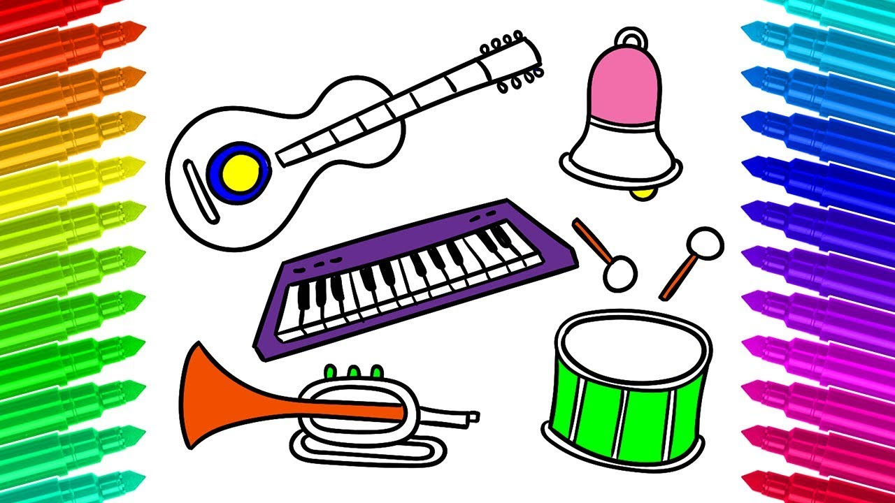 - Learn How To Draw And Colour Musical Instruments Coloring Book For