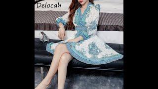 Delocah осенние женские модные дизайнерские вечерние короткое платье с рукавами фонариками высокая