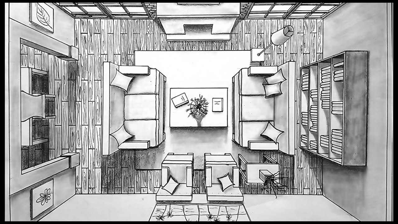 Drawing a living room in one point perspective bird 39 s - One point perspective drawing living room ...