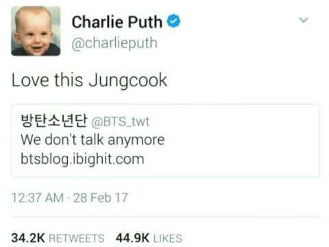 Image result for charlie puth tweet jungkook
