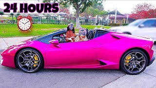 WE SPENT 24 HOURS IN A LAMBORGHINI - Challenge | Familia Diamond