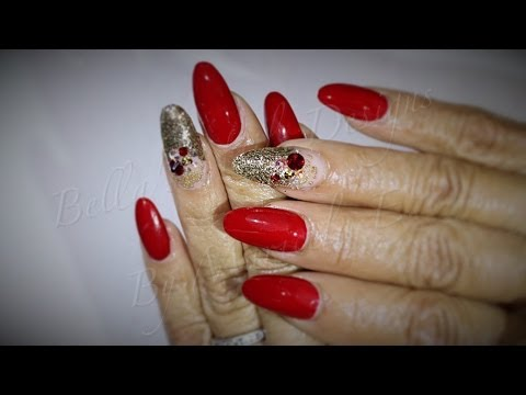 acrylic nails red and gold   oval nail set   youtube