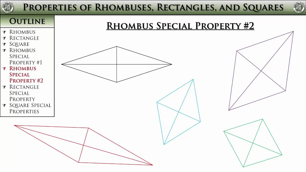 Geometry Section 6 4 Properties Of Rhombuses Rectangles And Squares