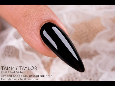 ❤ Chit Chat  Ferosh Black Almond Shape Sculptured Nail  How To  Tammy Taylor