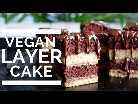 Chocolate & Vanilla Layer Cake | Vegan & Low Fat!