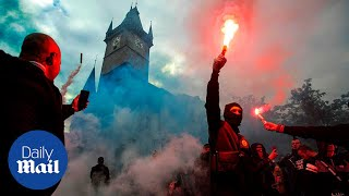 Prague riot police clash with protesters after Covid protest
