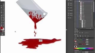 chopper butcher knife with blood for halloween. Adobe illustrator tutorial.
