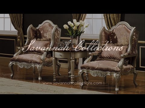 Victorian Furniture Occasional Chair in Antique Silver by Savannah Collections - Maitland Smith