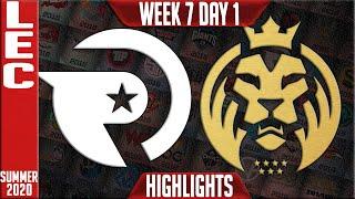 OG vs MAD Highlights | LEC Summer 2020 W7D1 | Origen vs Misfits Gaming