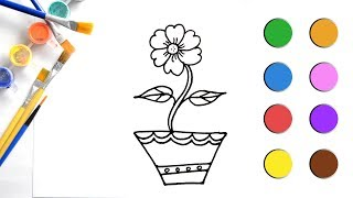 Sketch Painting Drawing and Coloring a Flower Pot Drawing for Kids