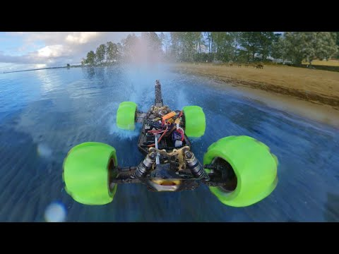 DRIVING A Hydroplaning RC CAR On WATER!