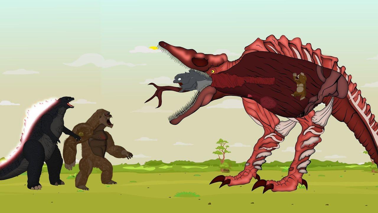 Godzilla vs King Kong ATTACK TITAN SKULLCRAWLER: Size Comparison | Godzilla Cartoon Animation