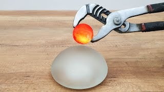 EXPERIMENT Glowing 1000 Degree METAL BALL vs Implant Breast