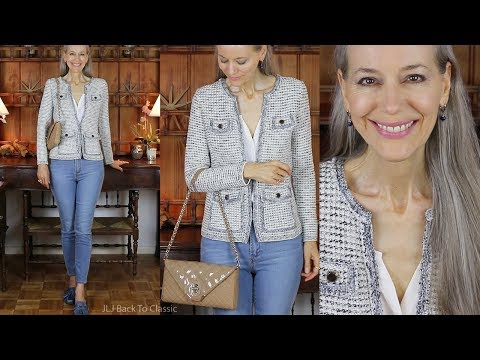 Classic Style: Tweed Jacket & Jeans; What's In My Brooks Brothers Shoulder Bag / Fashion Over 40, 50