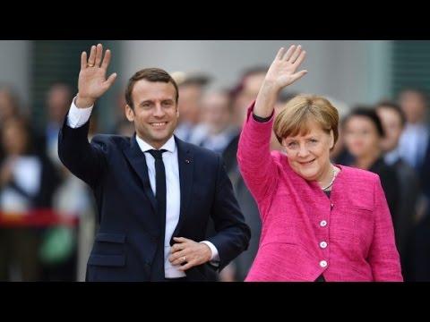 Macron meets Merkel on first day in office