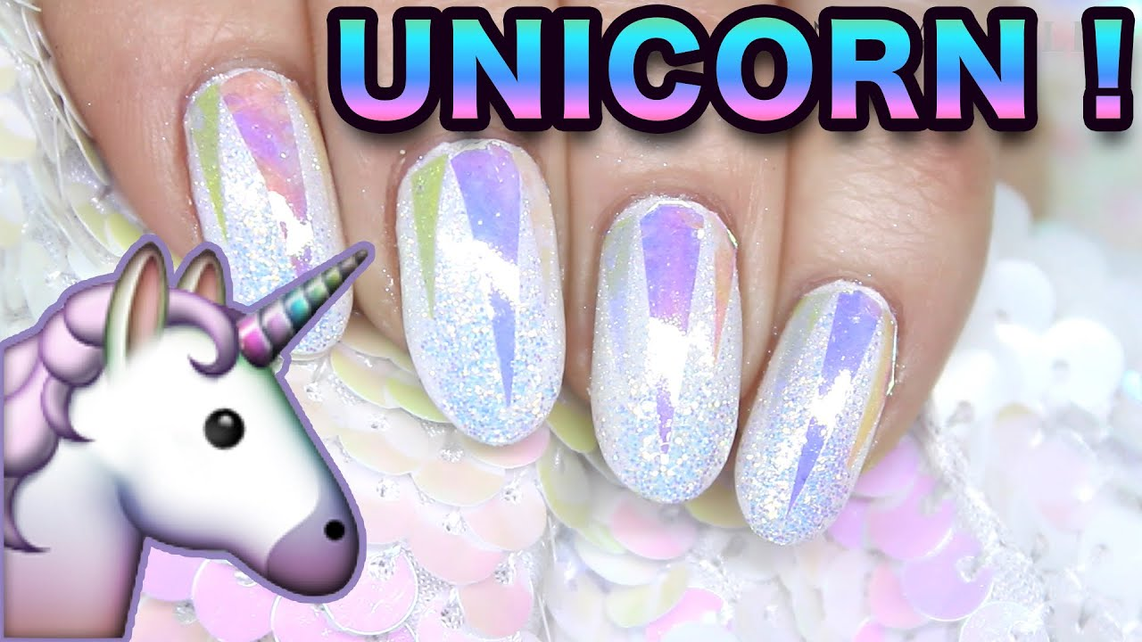 HOLO GLASS UNICORN (IRIDESCENT GLITTER) NAIL ART NAILS - YouTube