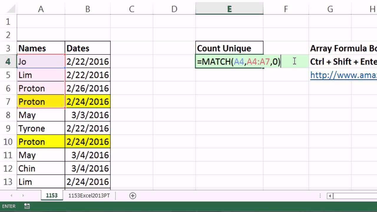 Excel Magic Trick 1153  Unique Count For Name  U0026 Date