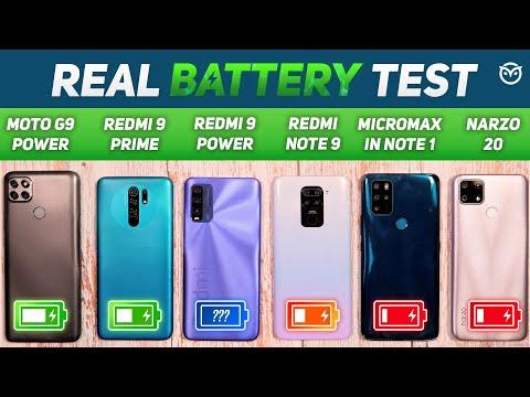 Redmi 9 Power vs Redmi Note 9, 9 Prime, Narzo 20 Battery Drain Test   Charging Test   Gaming [Hindi]