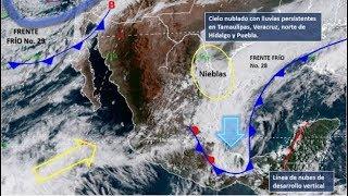 Frente Frío número 4 provocará fuertes lluvias en estos estados. 07 de Octubre 2018.