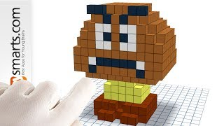 How to Make Goomba (from Mario Games) 3D Pixel Art Style Tutorial with Qbics Paint
