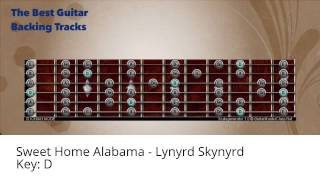 Sweet Home Alabama - Lynyrd Skynyrd Guitar Backing Track with scale chart