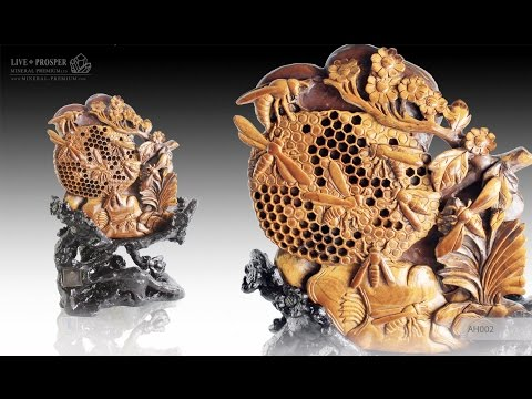 #mineral_premium Solid tiger's eye carving of honeybees with flowers on a wooden stand