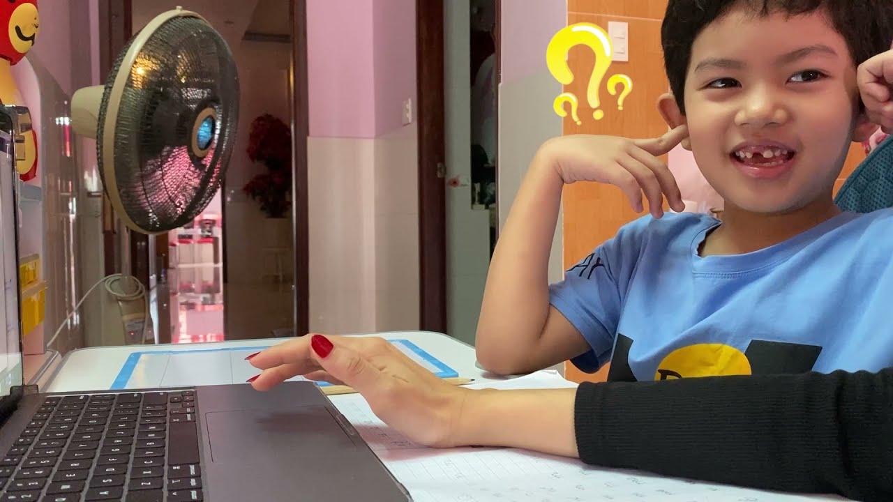 Bật cười với các kiểu sắc thái khi học online lớp 1 của Kubi | Khánh Thi Phan Hiển Family