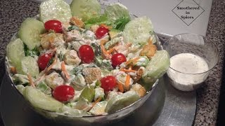 Homemade Ranch Dressing & Garden Salad Recipe - Smothered In Spices - Episode 11