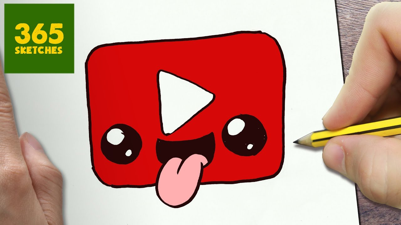 HOW TO DRAW A YOUTUBE LOGO CUTE Easy Step By Drawing Lessons For Kids