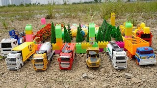 Excavator Dump Truck Construction Vehicles for kids   Kids and Toys Building the Ball Park on Sand