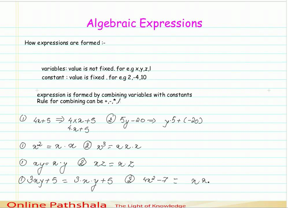 How to form an algebraic expression CBSE MATHS - YouTube