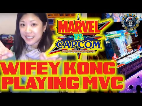 Wifey Kong Playing Marvel vs Capcom Arcade1up!! from Kongs-R-Us